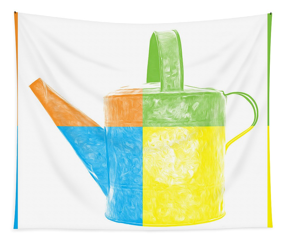 Gardening Tapestry featuring the photograph Watering Can Pop Art by Edward Fielding