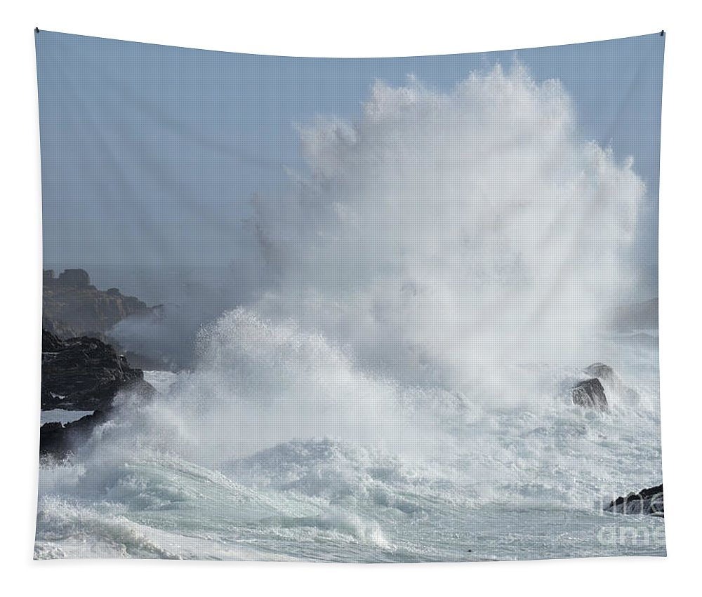 California Tapestry featuring the photograph Wave At Salt Point by Bob Christopher