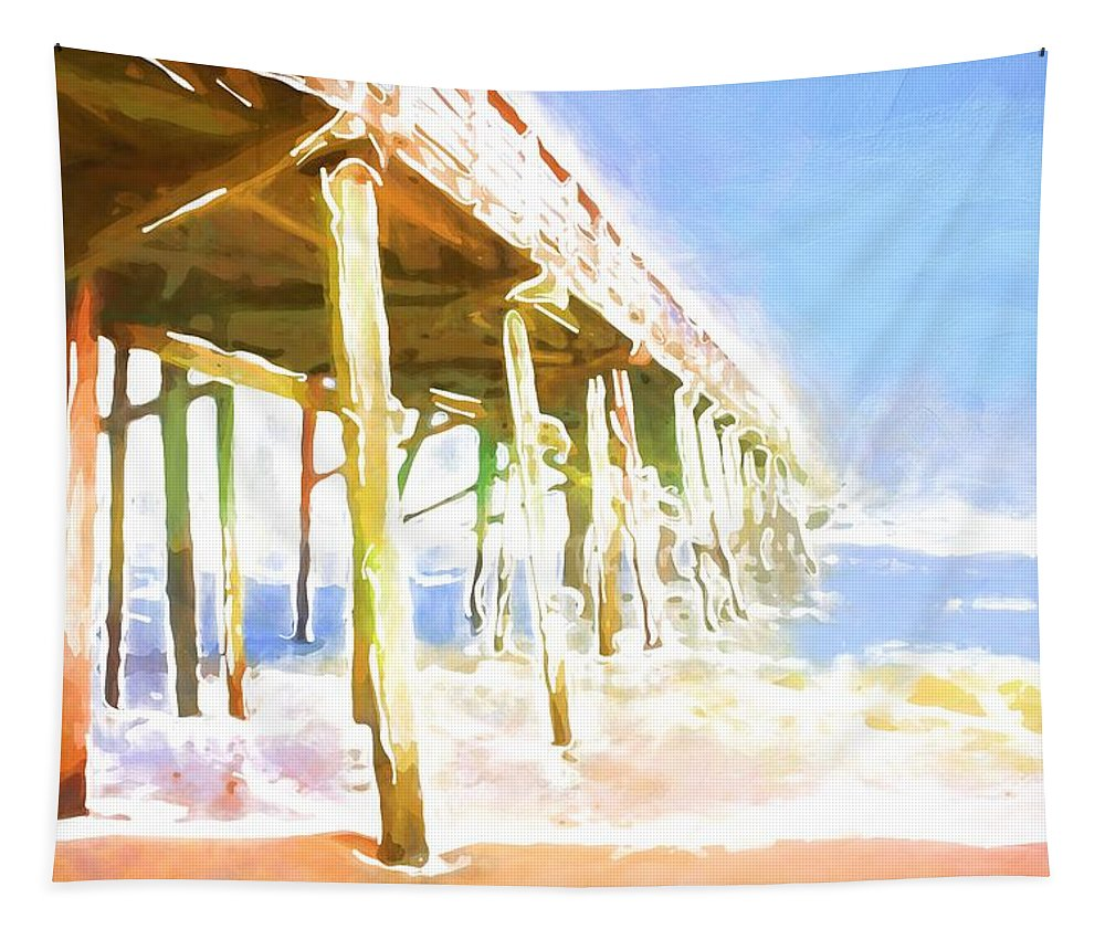Flagler Beach Tapestry featuring the photograph Waves By The Pier by Alice Gipson