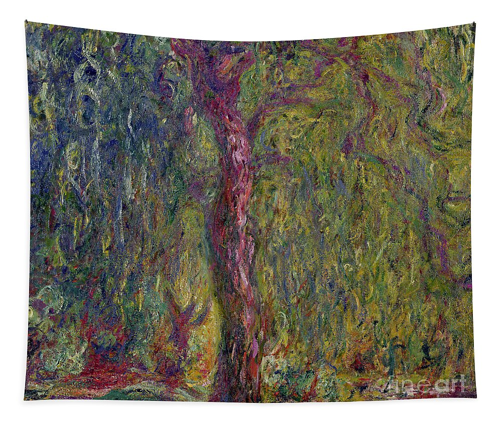 Impressionist Tapestry featuring the painting Weeping Willow by Claude Monet
