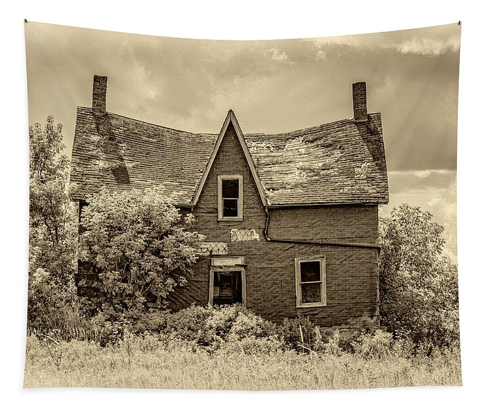 Ontario Tapestry featuring the photograph Weight Of The World - Antique Sepia by Steve Harrington
