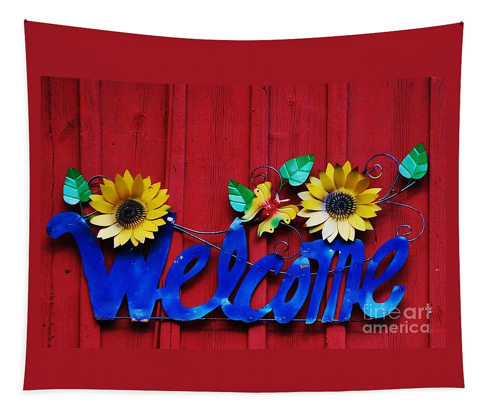 Whimsical Art Sign Welcome Message Folk Art Barn Wall Rural Metalwork Callahan Landscapers Red Wall Metal Sculpture House Warming Gift Metal Frame Recommended Canvas Print Greeting Card Invitation To A Party Card Phone Cases Throw Pillows Tote Bags Duvet Covers Mugs T Shirts Fun Shower Curtains Weekender Tote Bags Brand New Wall Tapestries Tapestry featuring the photograph Welcome by Marcus Dagan