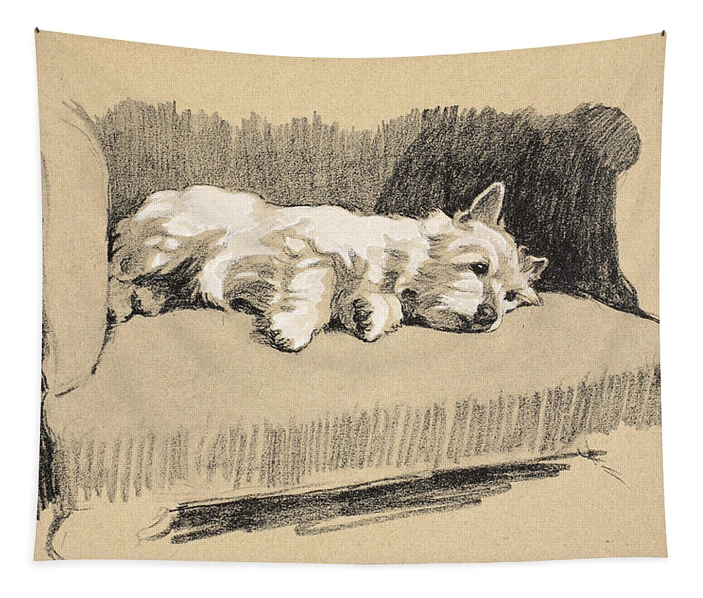 Dog Tapestry featuring the drawing West Highlander, 1930 by Cecil Charles Windsor Aldin