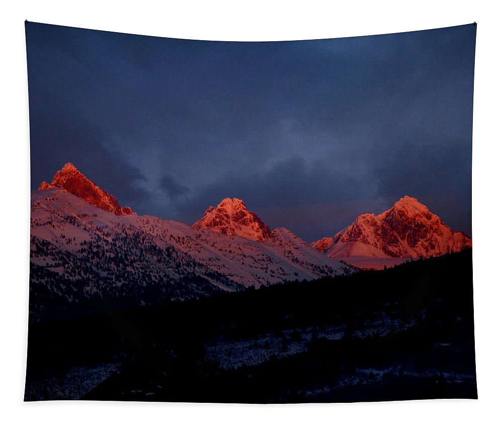 Tetons Tapestry featuring the photograph West Side Teton Sunset by Raymond Salani III