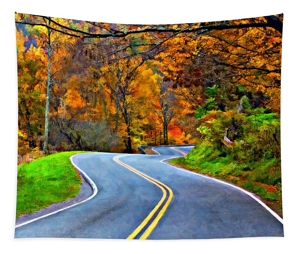 West Virginia Tapestry featuring the photograph West Virginia Curves 2 Oil by Steve Harrington
