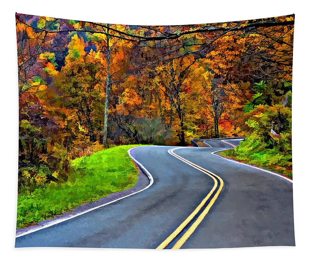 West Virginia Tapestry featuring the photograph West Virginia Curves Painted by Steve Harrington
