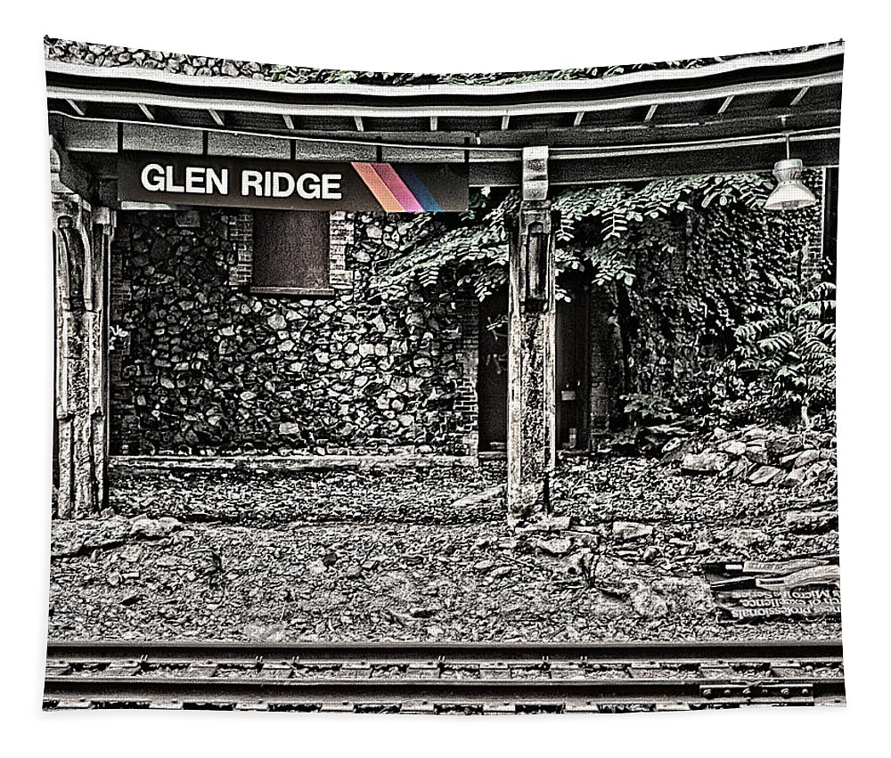 Westbound Track Tapestry featuring the photograph Westbound Track At Glen Ridge Station by Kellice Swaggerty