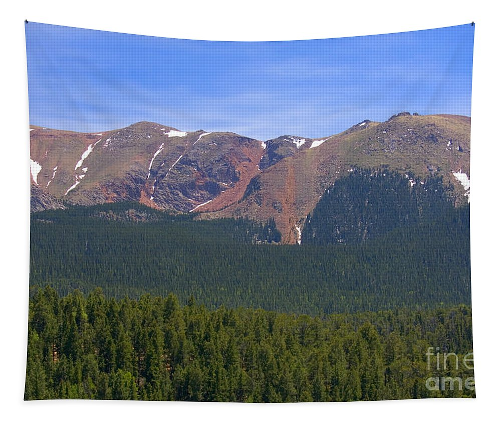 Colorado Rockies Tapestry featuring the photograph Western Face Pikes Peak by Steve Krull