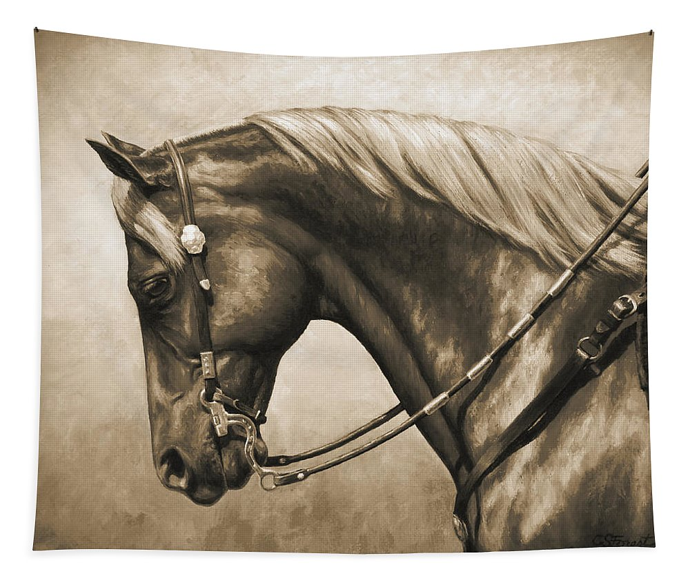 Horse Tapestry featuring the painting Western Horse Painting In Sepia by Crista Forest