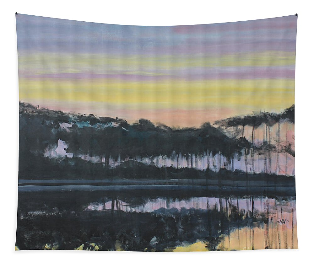Western Lake Sunrise Tapestry featuring the painting Western Lake Sunrise by Candace Lovely