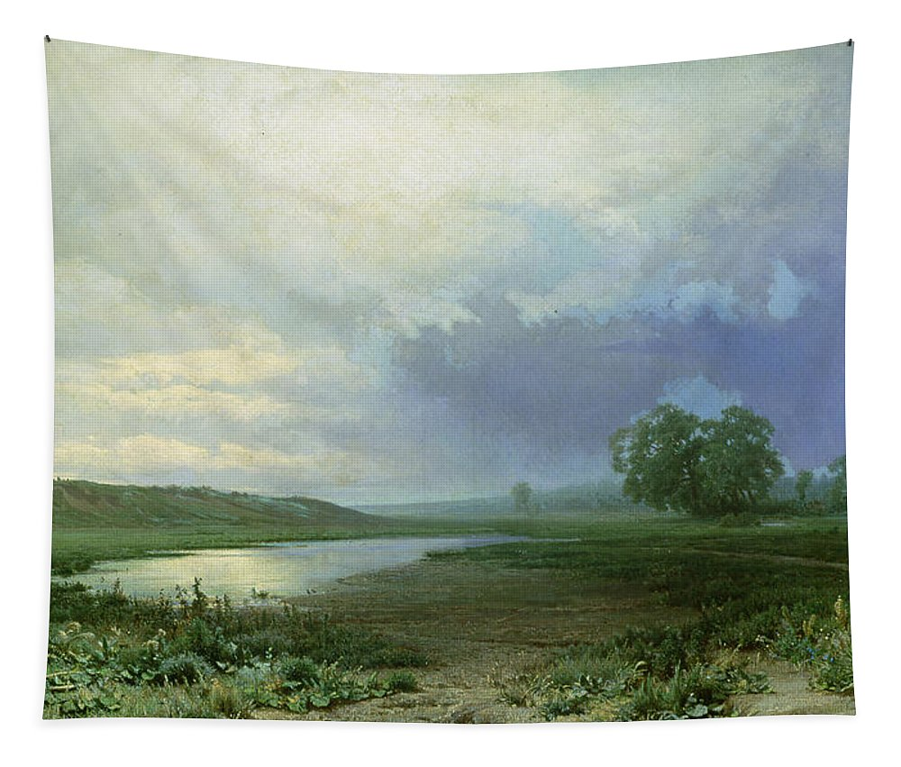 Wet Meadow Tapestry featuring the painting Wet Meadow by Fedor Aleksandrovich Vasiliev