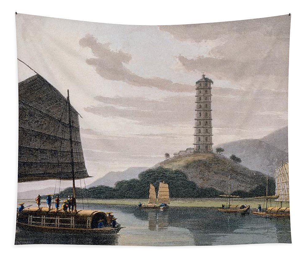 Asia Tapestry featuring the painting Wham Poa Pagoda, With Boats Sailing by Thomas and William Daniell