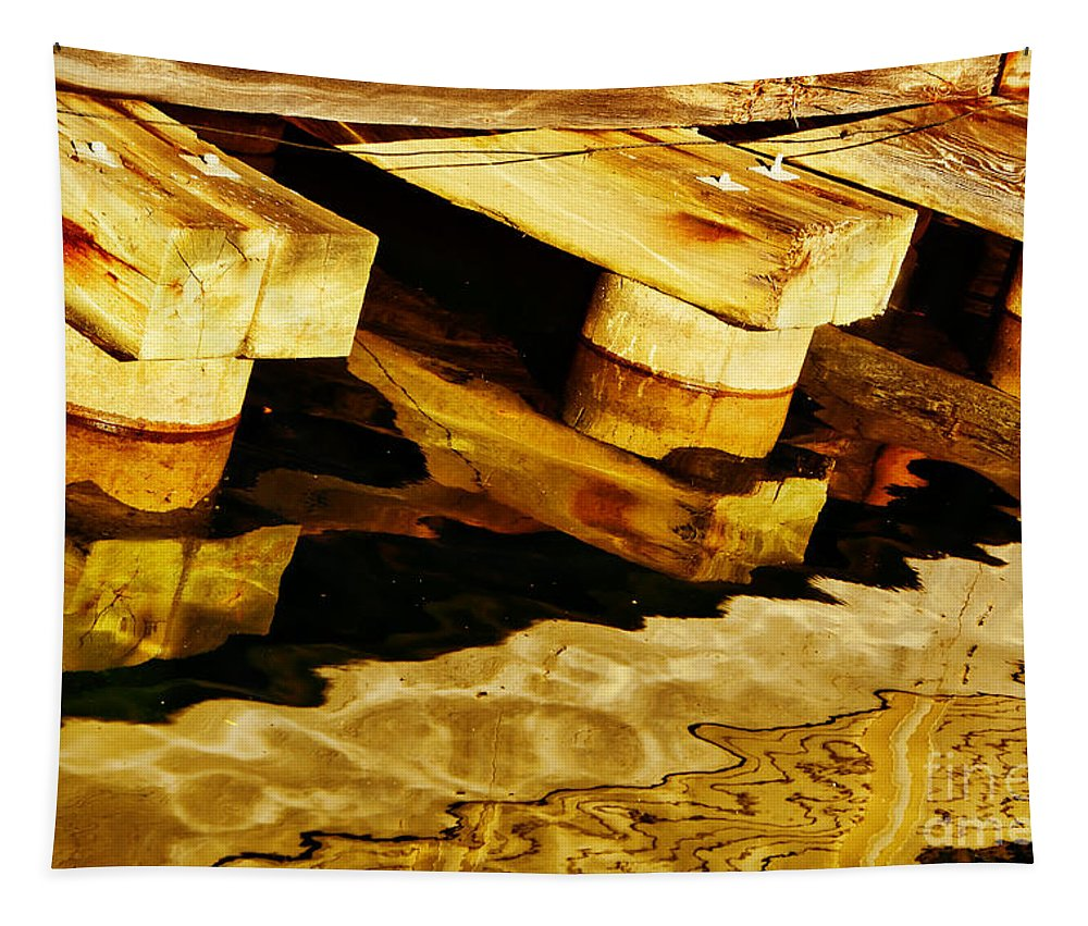 Abstract Tapestry featuring the photograph Wharf Reflections In Brown by Nikolyn McDonald
