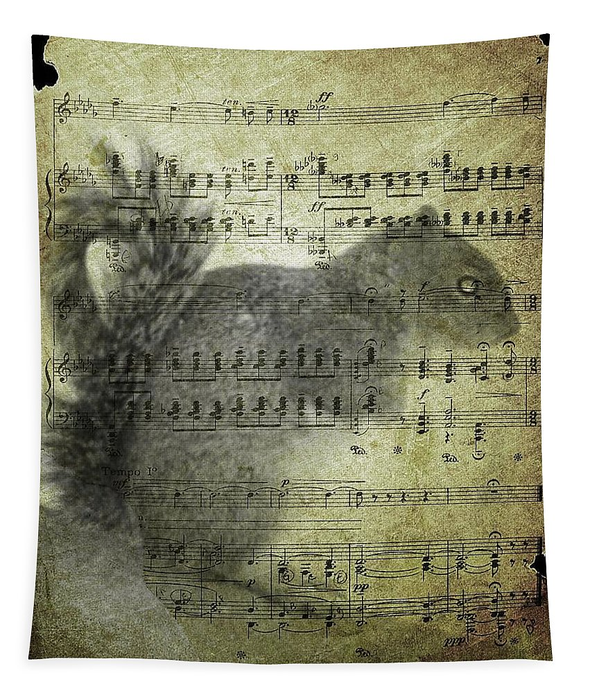 Vintage Squirrel Art Tapestry featuring the digital art What Would He Sing by Gothicrow Images