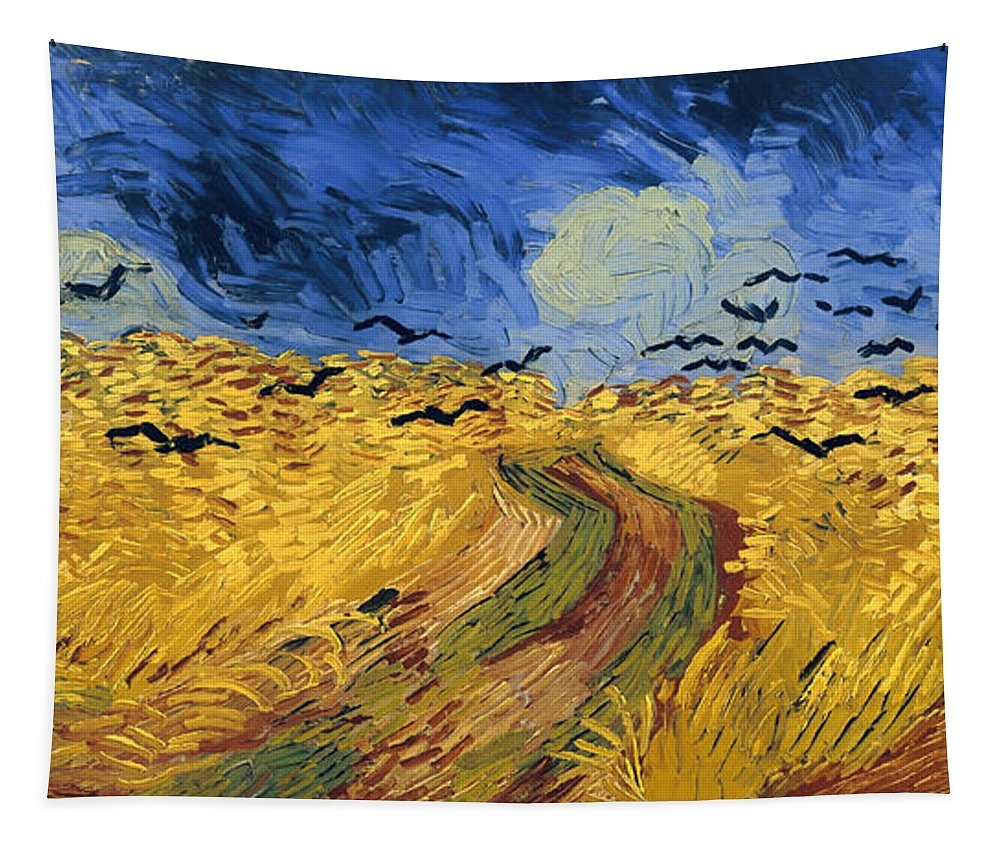 Masterpiece Tapestry featuring the painting Wheat Field With Crows by Mountain Dreams