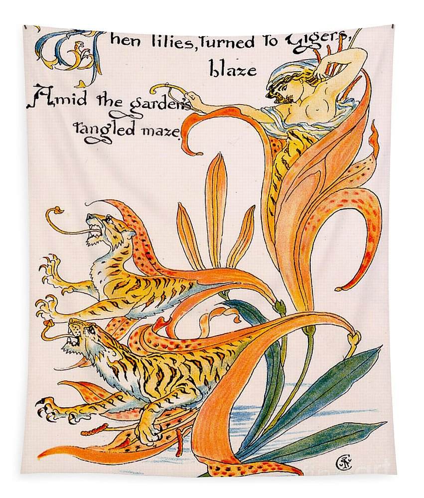 Illustration Tapestry featuring the painting When Lilies Turned To Tiger Blaze by Walter Crane