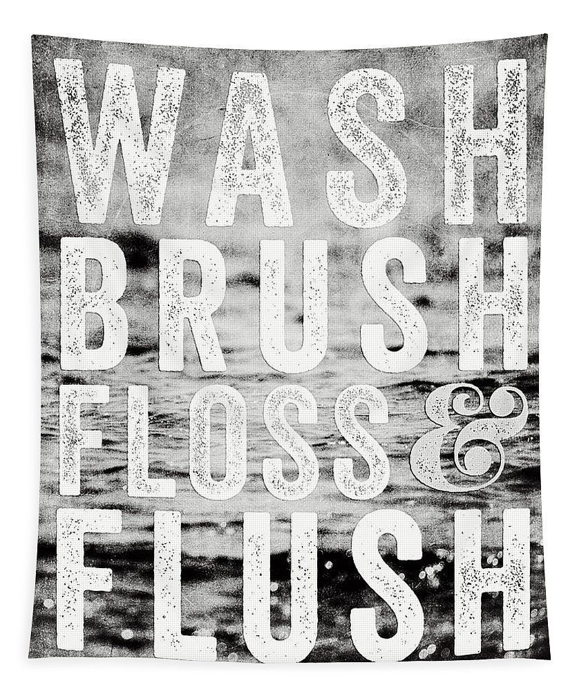 Bathroom Tapestry featuring the photograph Whimsical Bathroom Decor Typography in Black and White by Lisa R
