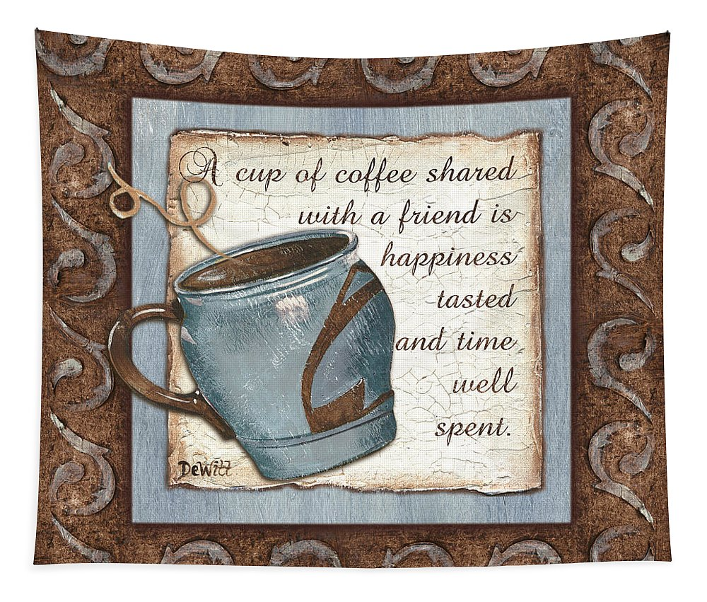 Coffee Tapestry featuring the painting Whimsical Coffee 2 by Debbie DeWitt