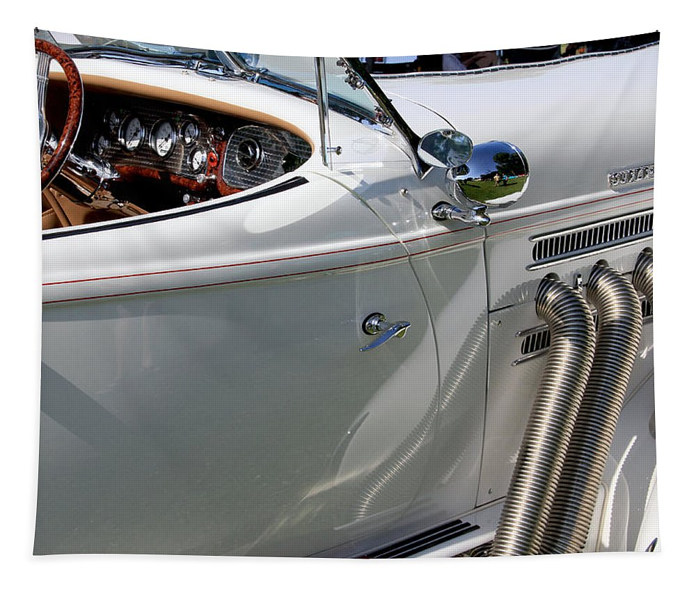 Car Tapestry featuring the photograph Replica Of A White Auburn Automobile by Bob Slitzan