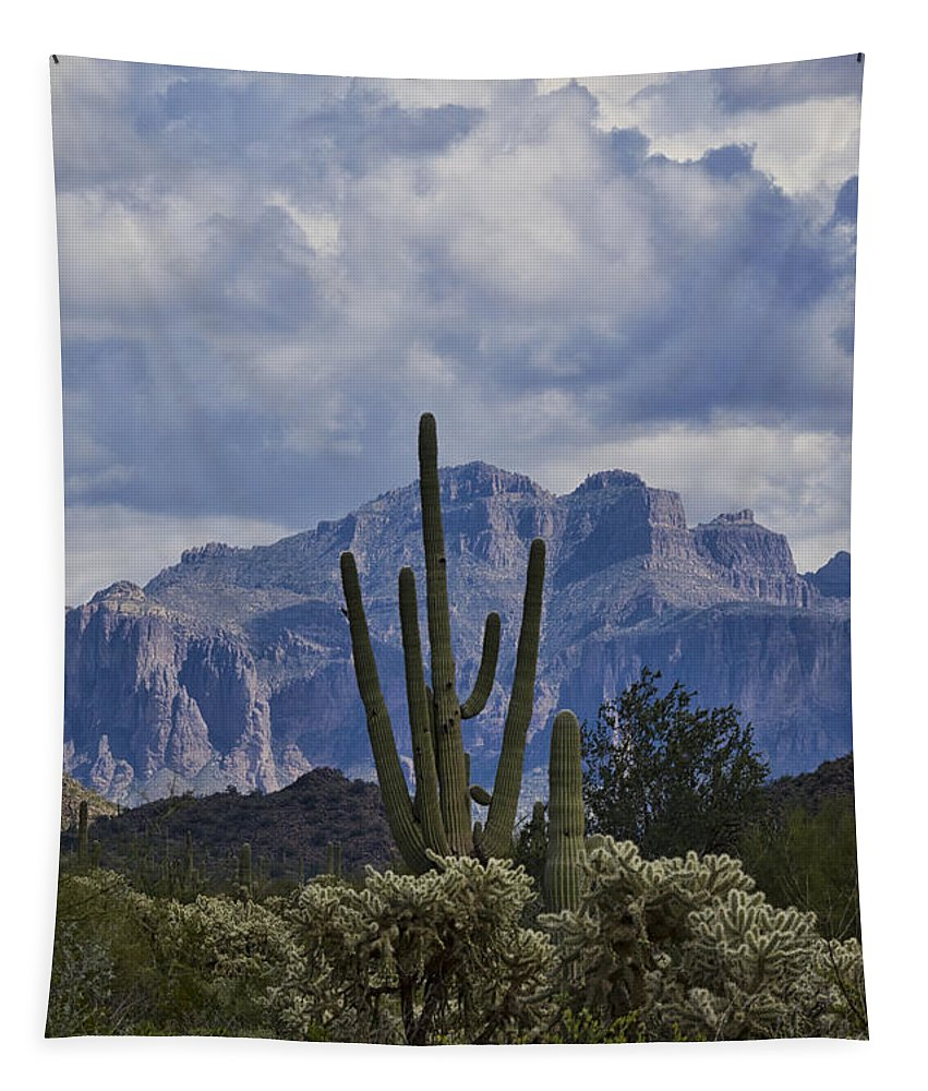 Arizona Tapestry featuring the photograph White Cotton Candy Clouds by Saija Lehtonen