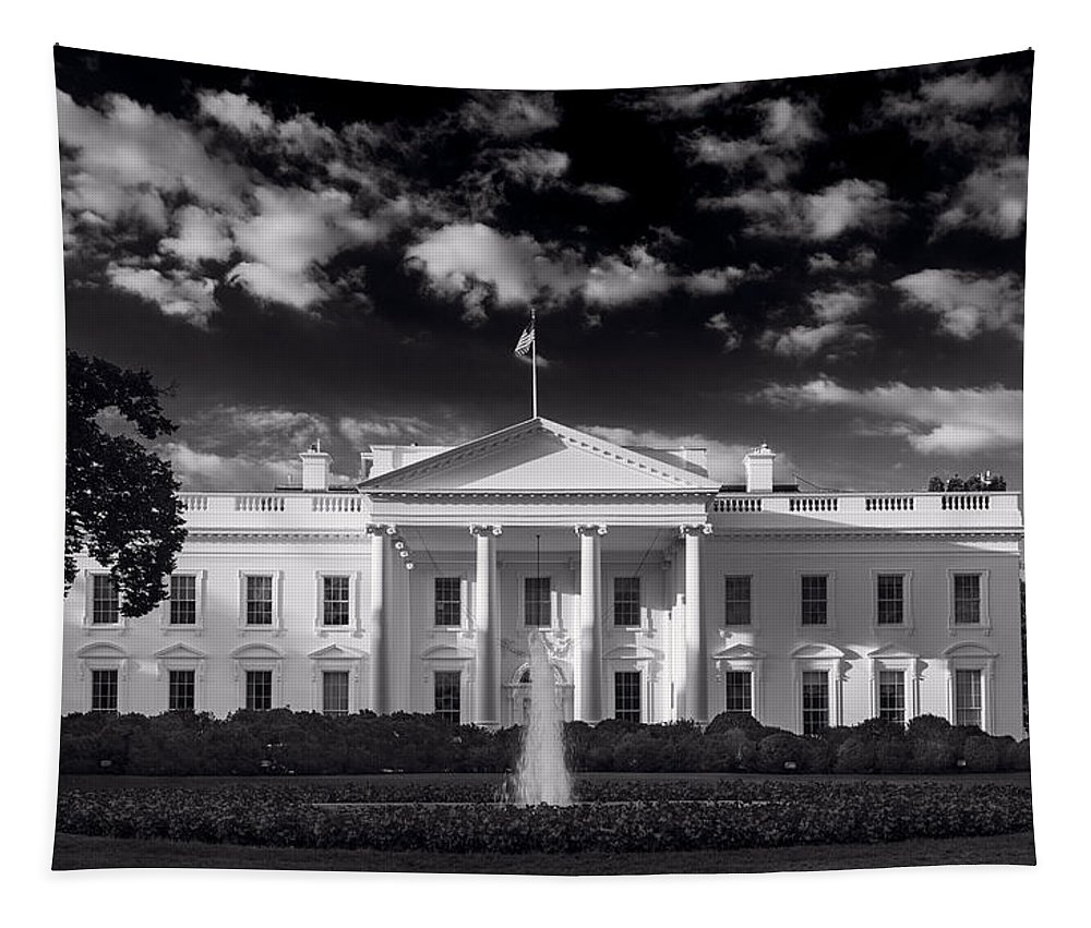 White Tapestry featuring the photograph White House Sunrise B W by Steve Gadomski