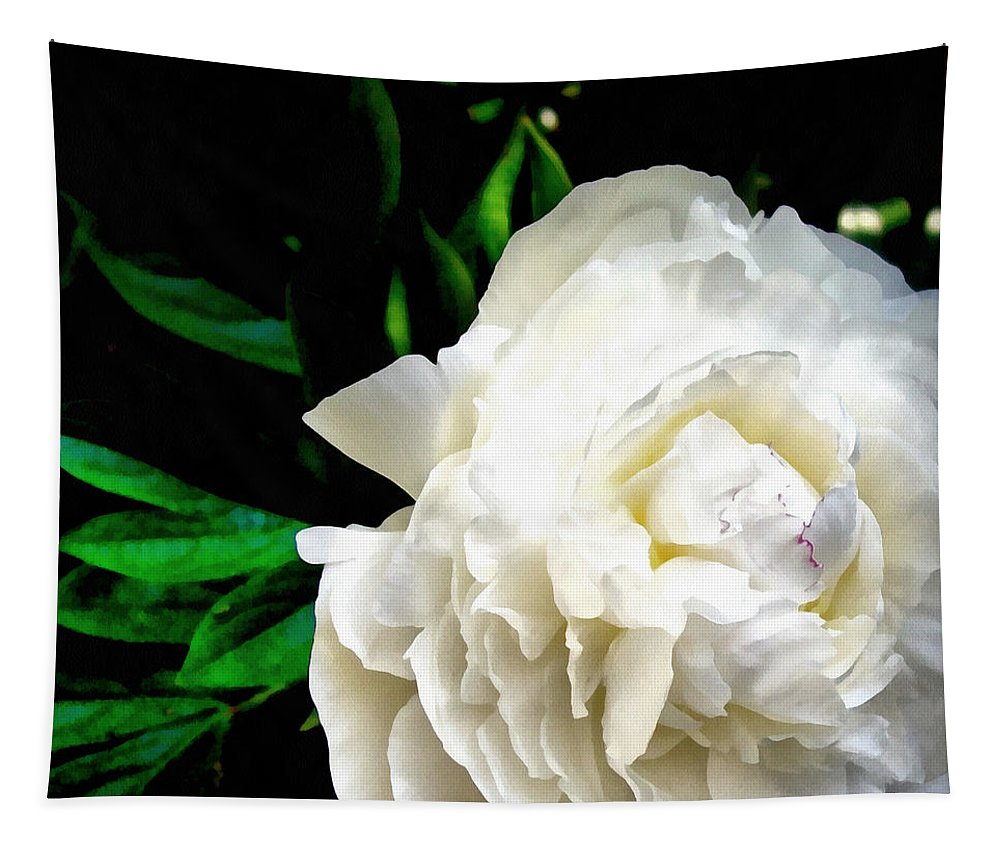 Peony Tapestry featuring the photograph White Peony by Michelle Calkins