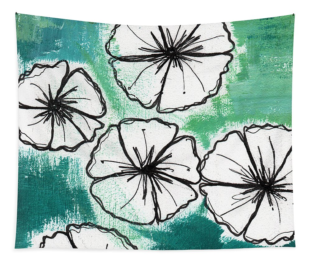 Flowers Tapestry featuring the painting White Petunias- Floral Abstract Painting by Linda Woods