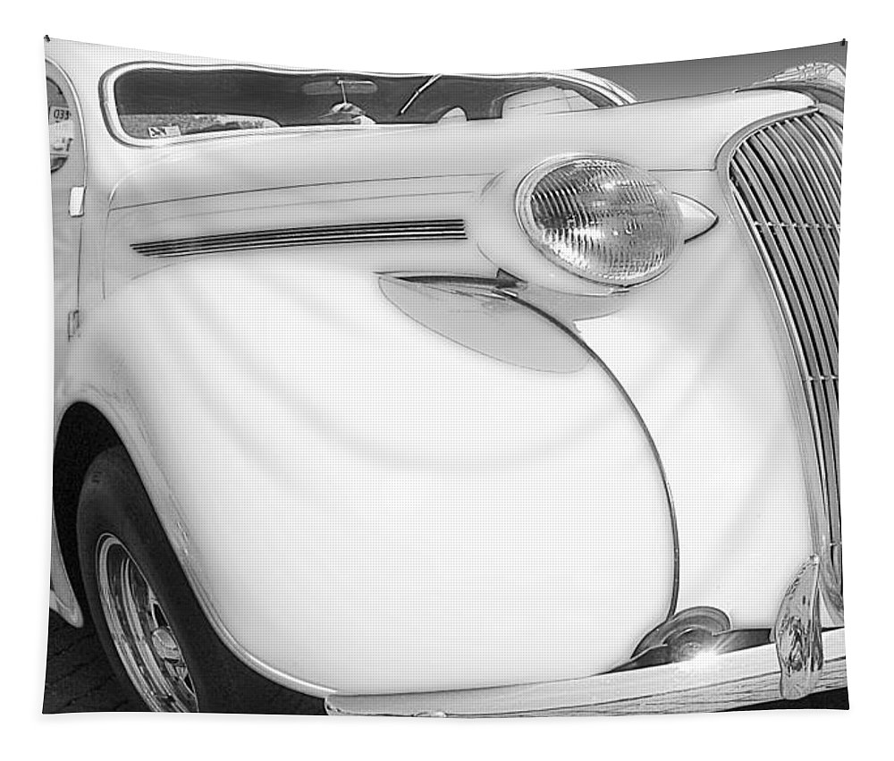 Cars Tapestry featuring the photograph White Plymouth by John Anderson