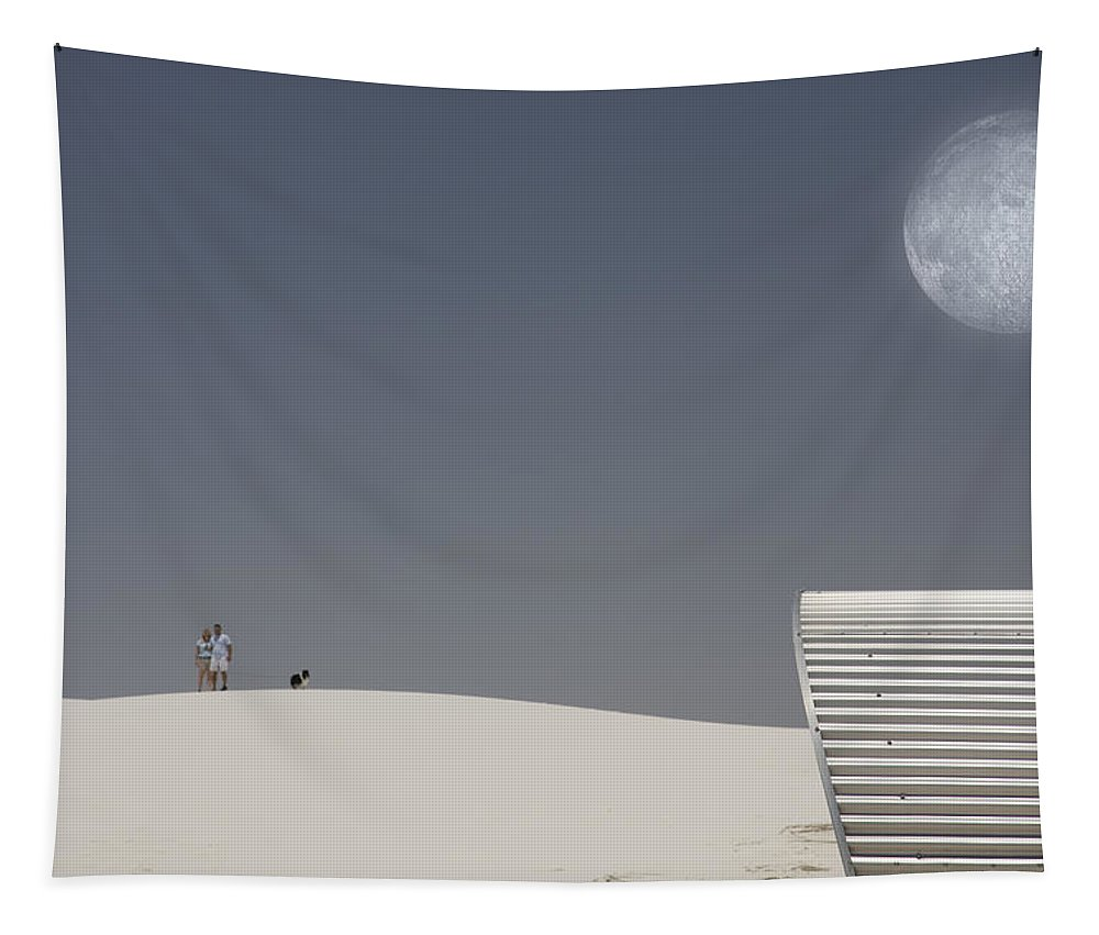 Air Tapestry featuring the digital art White Sands Moonrise by Bruce Rolff