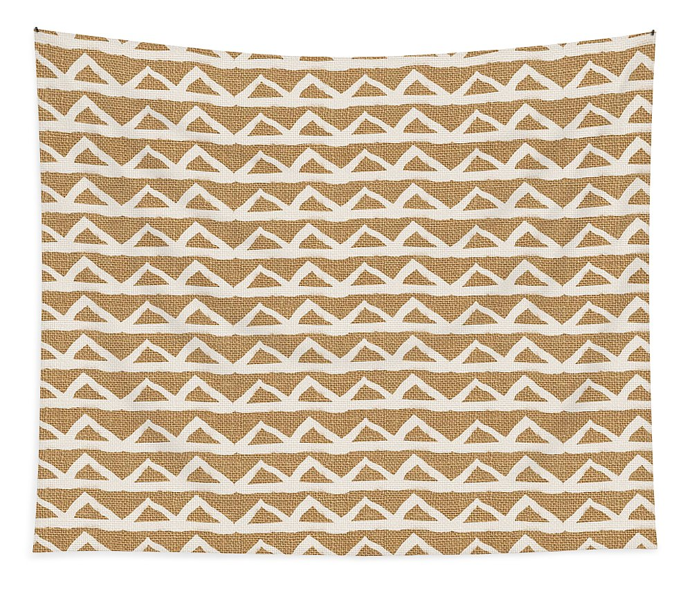 Triangles Tapestry featuring the mixed media White Triangles On Burlap by Linda Woods