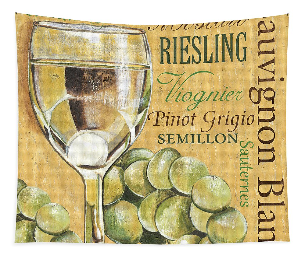 Wine Tapestry featuring the painting White Wine Text by Debbie DeWitt