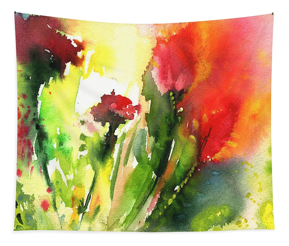 Floral Tapestry featuring the painting Wild Flowers 09 by Miki De Goodaboom
