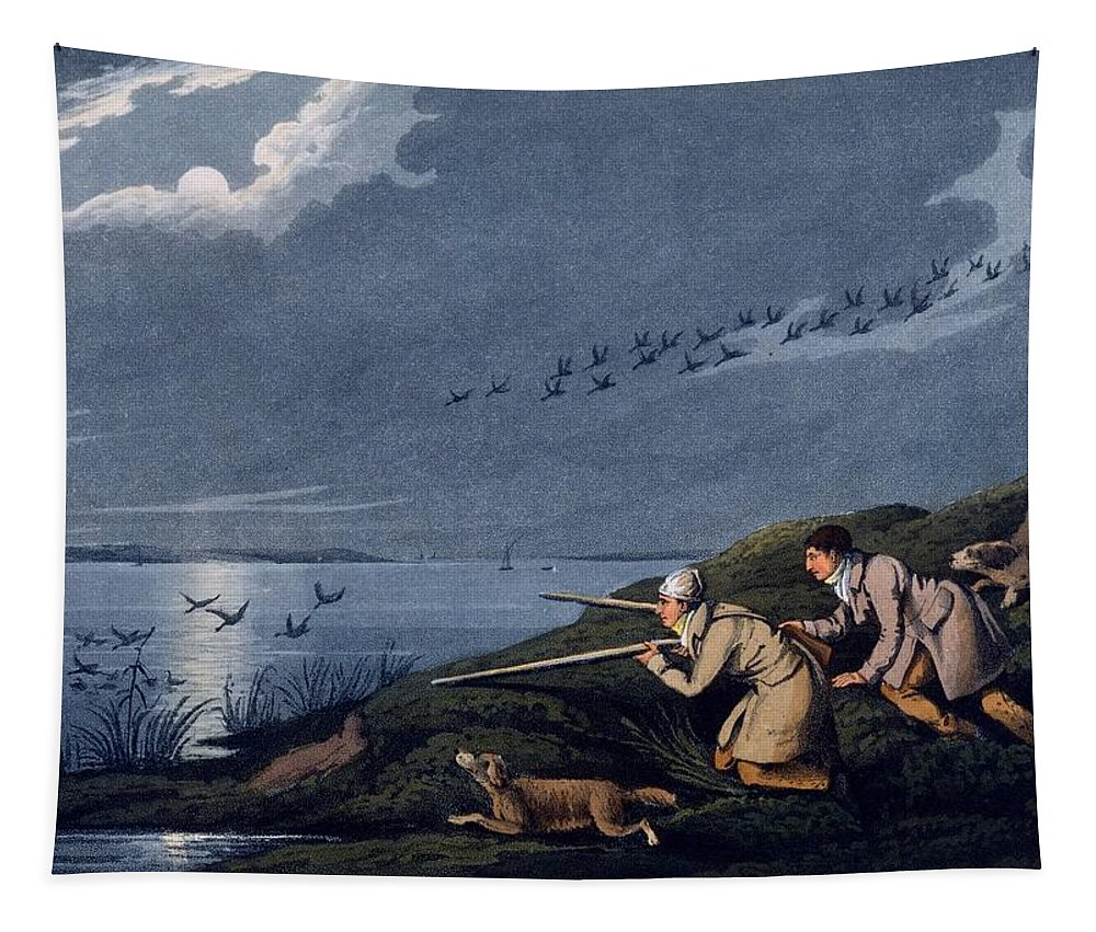 Shooting Tapestry featuring the drawing Wild Fowl Shooting, 1820 by Henry Thomas Alken