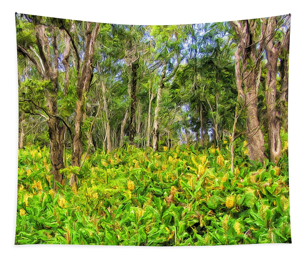 Wild Ginger Tapestry featuring the painting Wild Ginger And Ohia Trees by Dominic Piperata