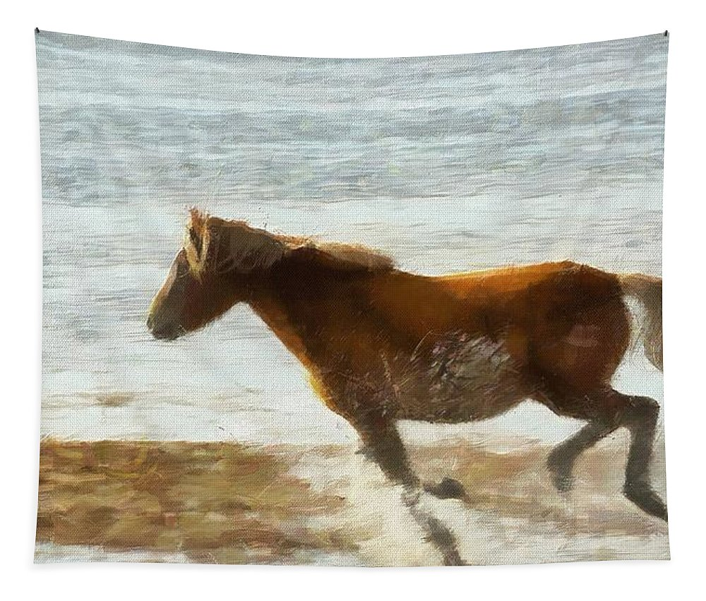 Wild Horse Running Through Water Tapestry featuring the painting Wild Horse Running Through Water by Dan Sproul