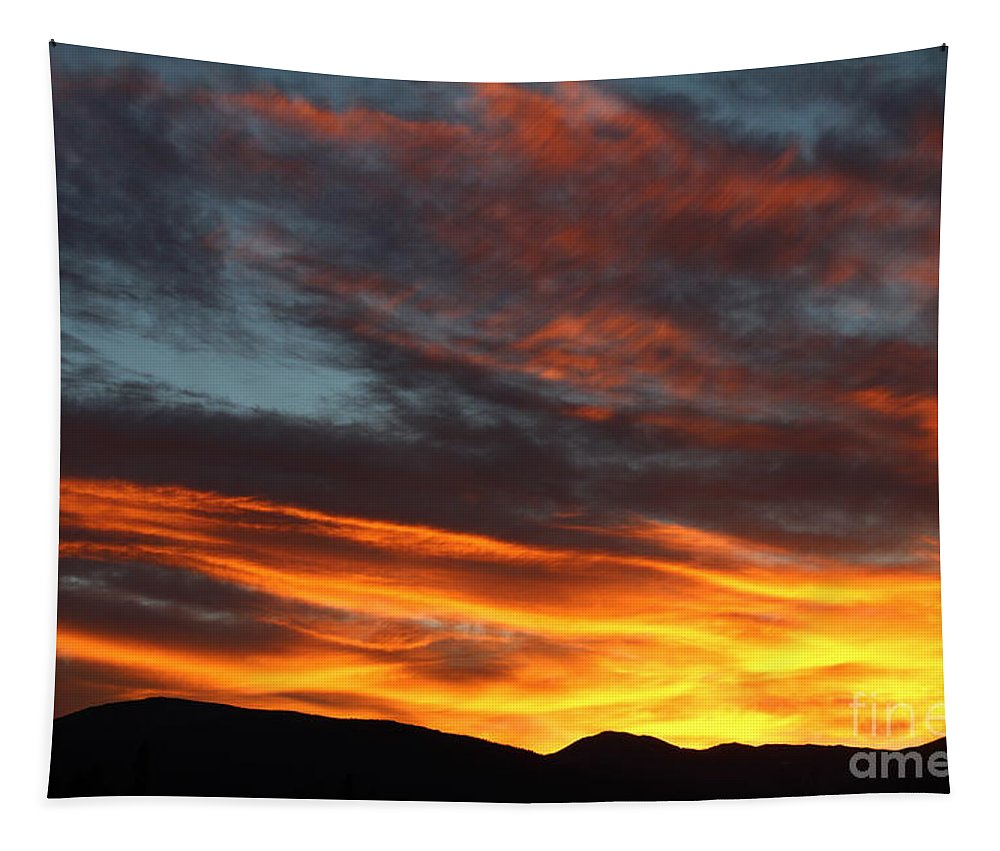 Sunrise Tapestry featuring the photograph Wild Sunrise Over The Mountains by Fiona Kennard
