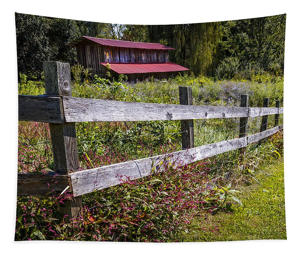 American Tapestry featuring the photograph Wildflowers At The Fence by Debra and Dave Vanderlaan