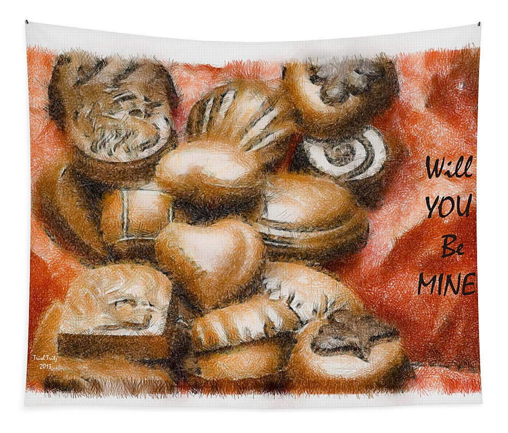 Candy Tapestry featuring the mixed media Will You Be Mine by Trish Tritz