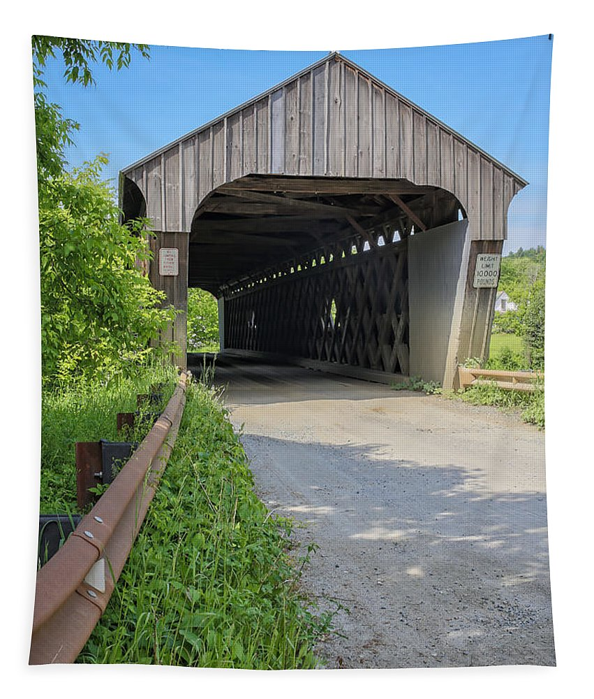Vermont Tapestry featuring the photograph Willard Covered Bridge North Hartland Vermont by Edward Fielding
