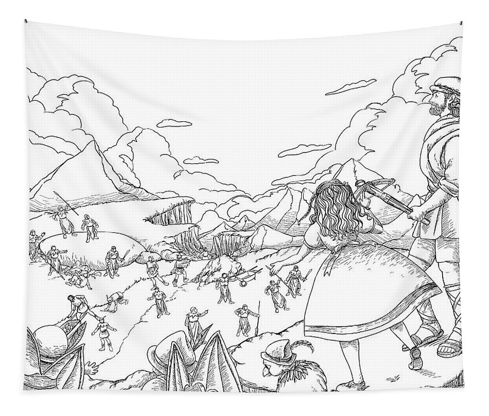 The Wurtherington Diary Tapestry featuring the drawing Willima Tell Freedom Fighter by Reynold Jay