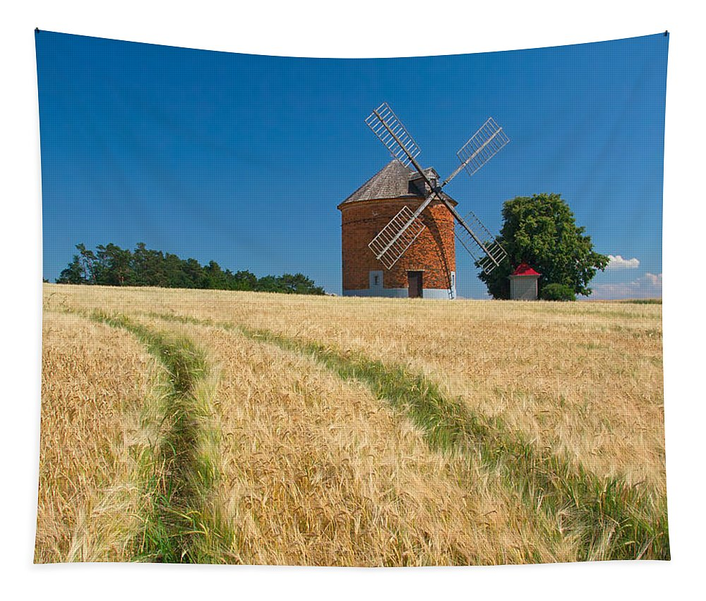 Agriculture Tapestry featuring the photograph Windmill In A Field Of Corn. by Jaroslav Frank