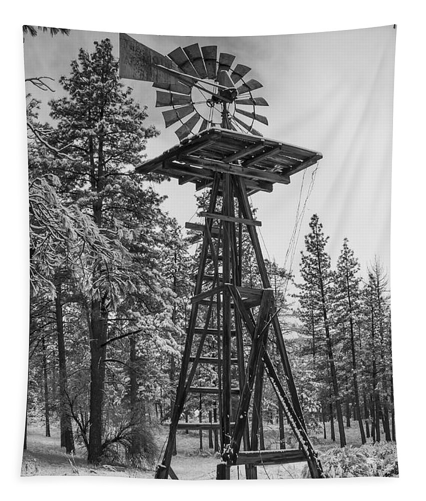 Windmill Tapestry featuring the photograph Windmill In The Snow Black And White by Scott Campbell