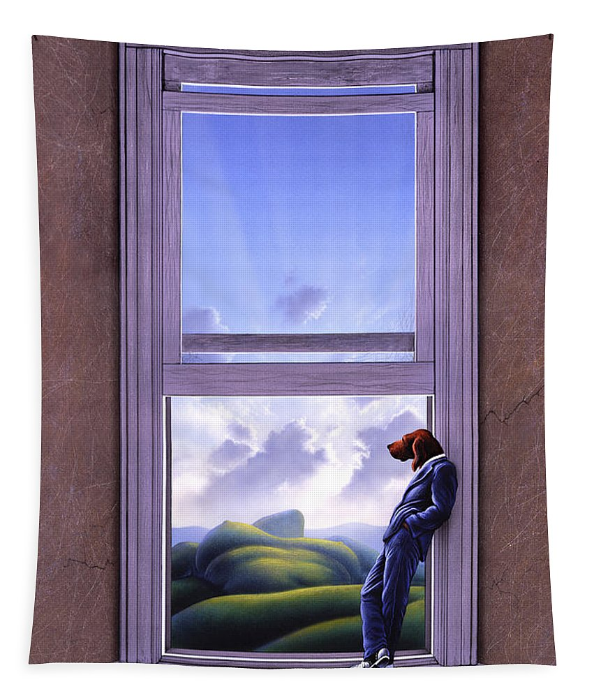 Surreal Tapestry featuring the painting Window of Dreams by Jerry LoFaro