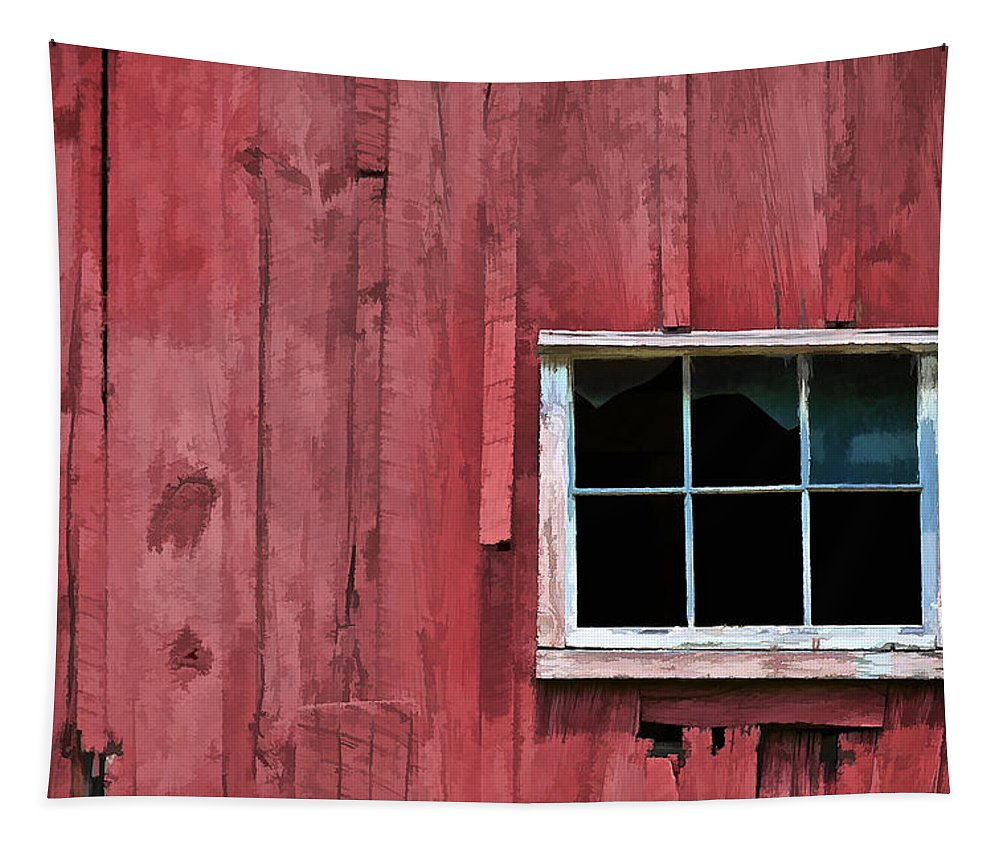 Abandon Tapestry featuring the photograph Window On A Red Barn by David Letts