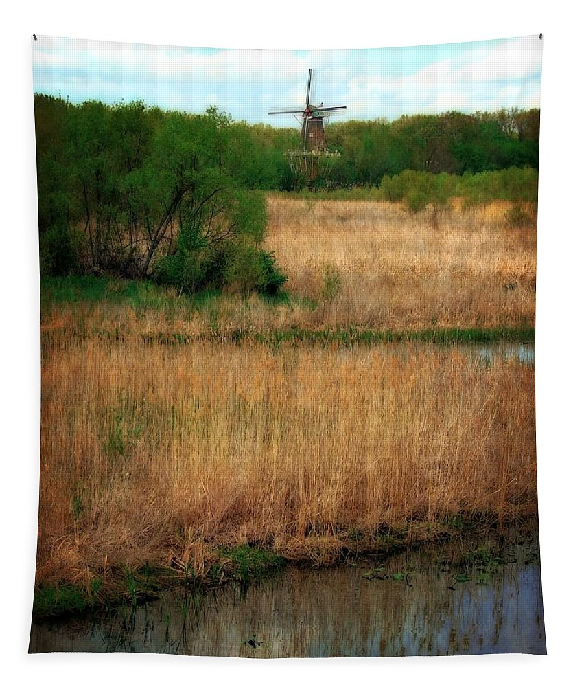 Windmill Island Tapestry featuring the photograph Window On The Waterfront Dezwaan Windmill by Michelle Calkins