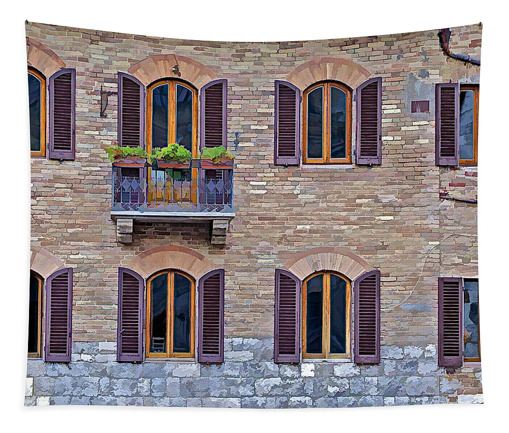 Architecture Tapestry featuring the photograph Windows Of A Tuscan Office Building by David Letts