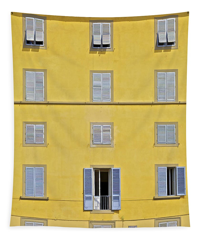 Balcony Tapestry featuring the photograph Windows Of Florence Against A Faded Yellow Plaster Wall by David Letts