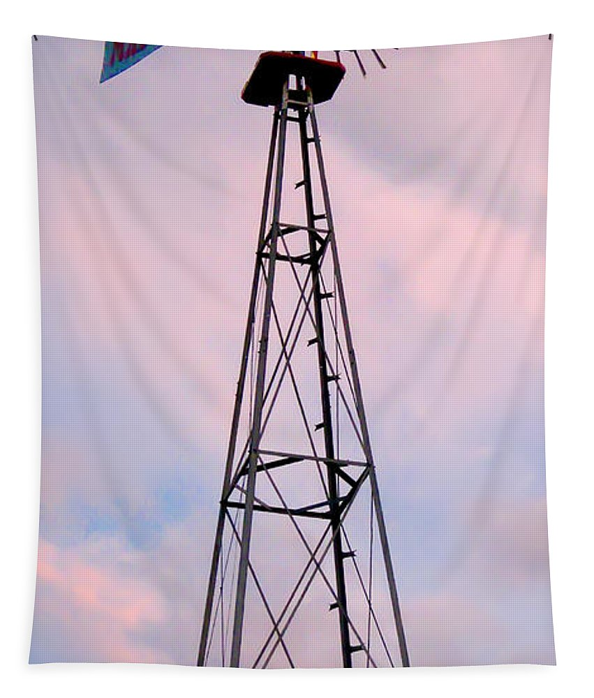 2d Tapestry featuring the photograph Windpump by Brian Wallace