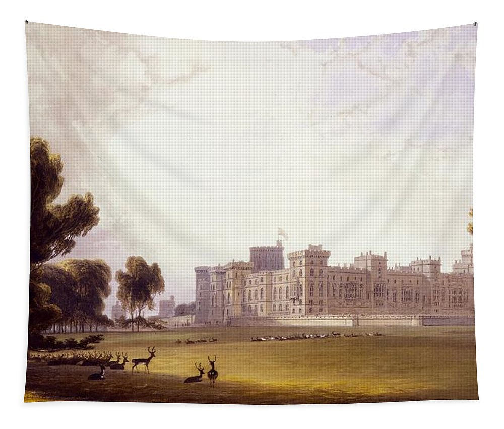 Windsor Castle From The South End Tapestry featuring the drawing Windsor Castle From The South End by William Daniell