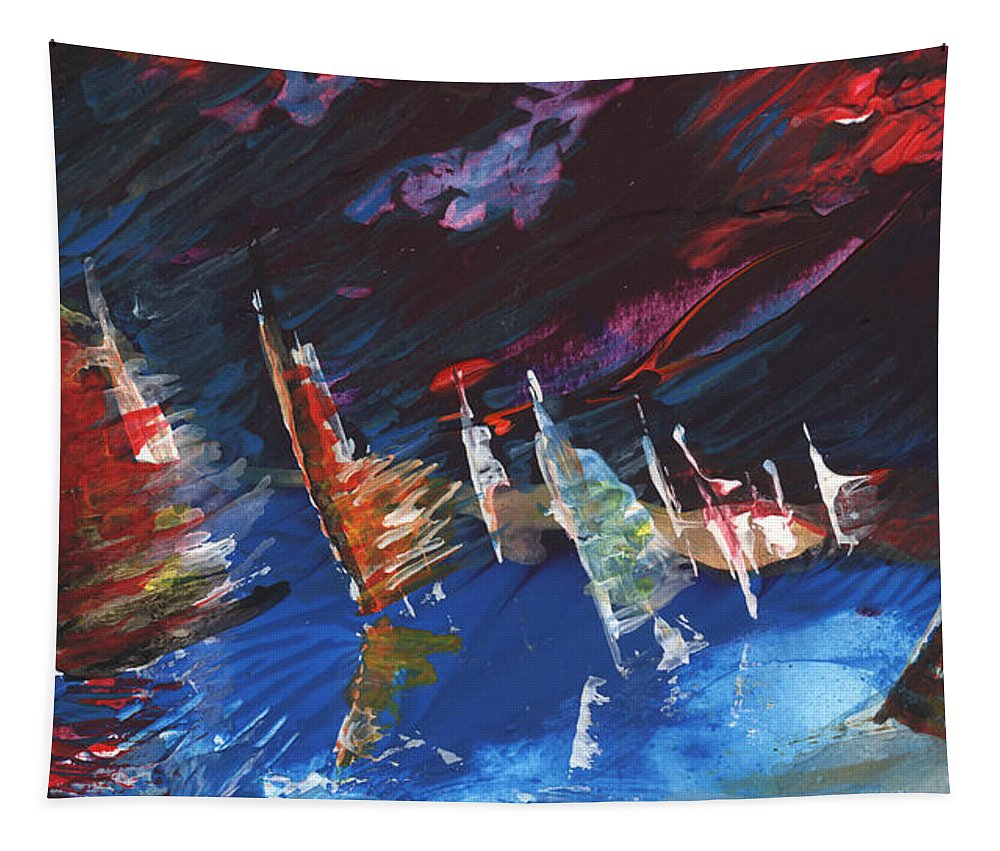 Abstract Tapestry featuring the painting Windsurf Impression 05 by Miki De Goodaboom